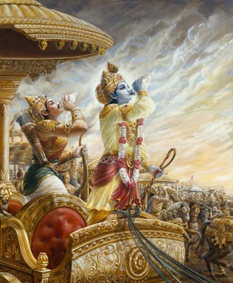 Krishna and Arjuna Blow Their Conchshells